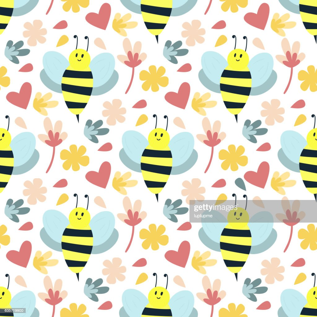 Bee seamless pattern vector.