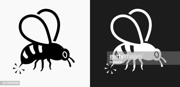 bee sting icon on black and white vector backgrounds - queen bee stock illustrations