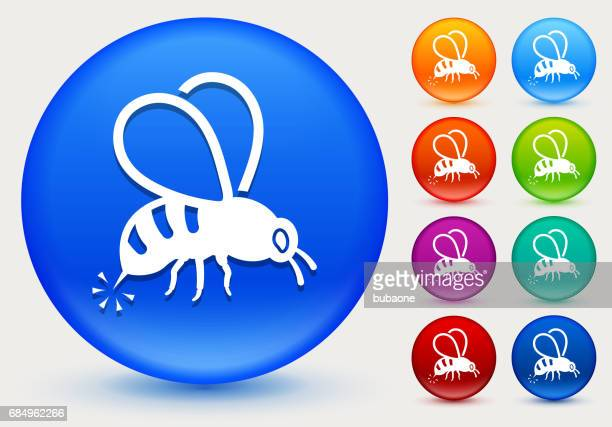 Bee Sting Icon on Shiny Color Circle Buttons