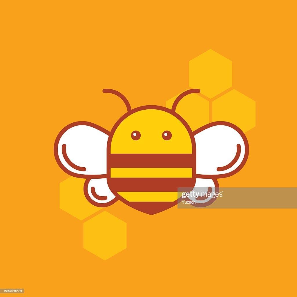 Bee thin lined icon. Bumblebee logotype design.