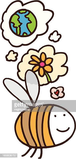 bee thinking about flowers and the planet - life cycle stock illustrations