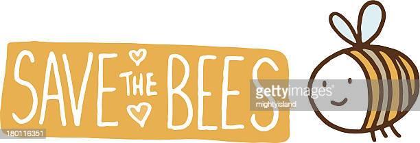 Bee con un texto banner