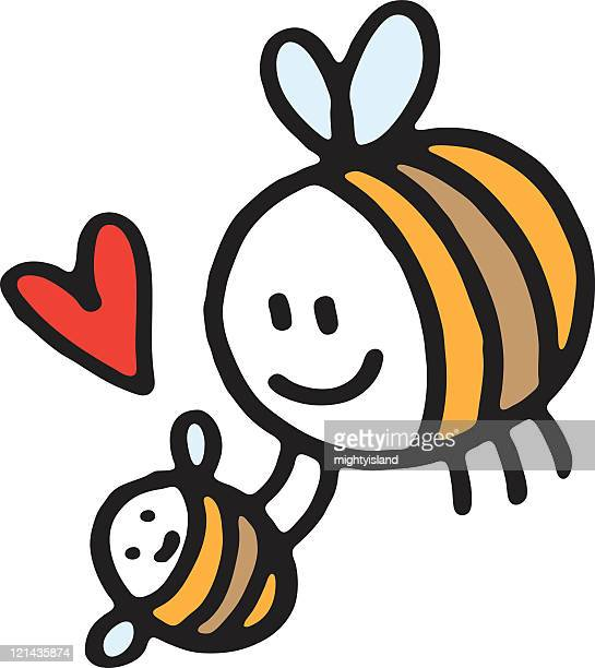 bee with baby - bumblebee stock illustrations, clip art, cartoons, & icons
