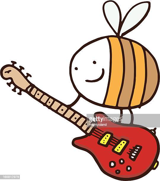 bee with guitar - bass instrument stock illustrations, clip art, cartoons, & icons
