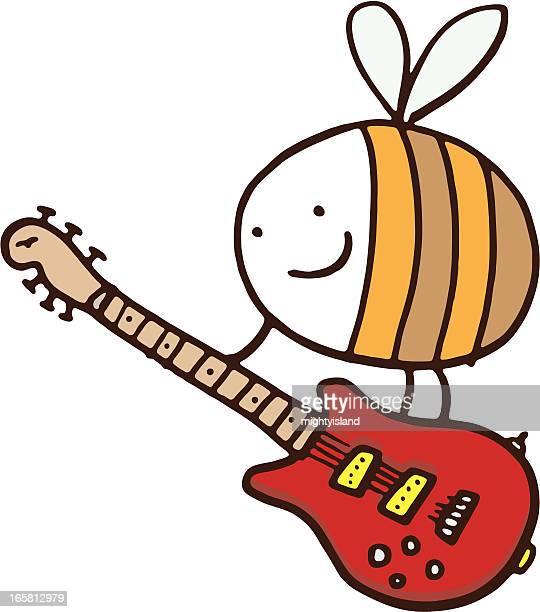 ilustraciones, imágenes clip art, dibujos animados e iconos de stock de bee con guitarra - bajo eléctrico