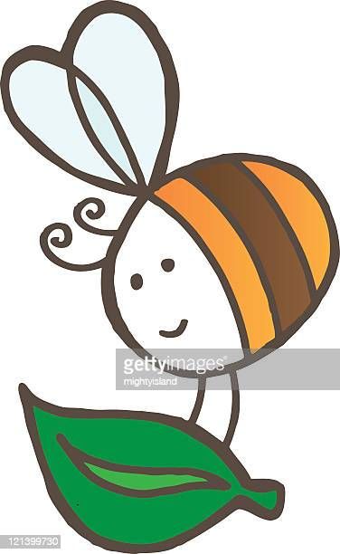 bee with leaf - bumblebee stock illustrations, clip art, cartoons, & icons
