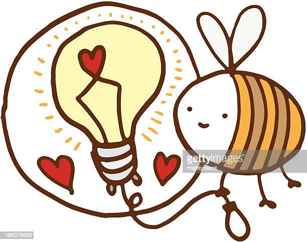 bee with light bulb and love hearts - fly insect stock illustrations, clip art, cartoons, & icons