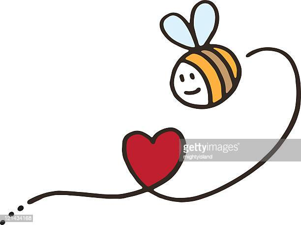bee with love heart - bumblebee stock illustrations, clip art, cartoons, & icons