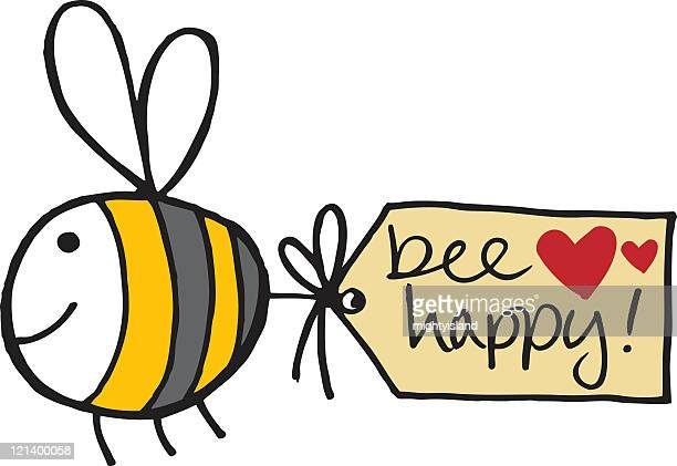bee with message - bumblebee stock illustrations, clip art, cartoons, & icons