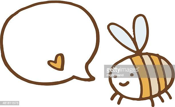 bee with speech bubble and little love heart - bumblebee stock illustrations, clip art, cartoons, & icons