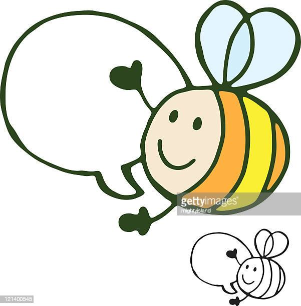 bee with speech bubble - bumblebee stock illustrations, clip art, cartoons, & icons
