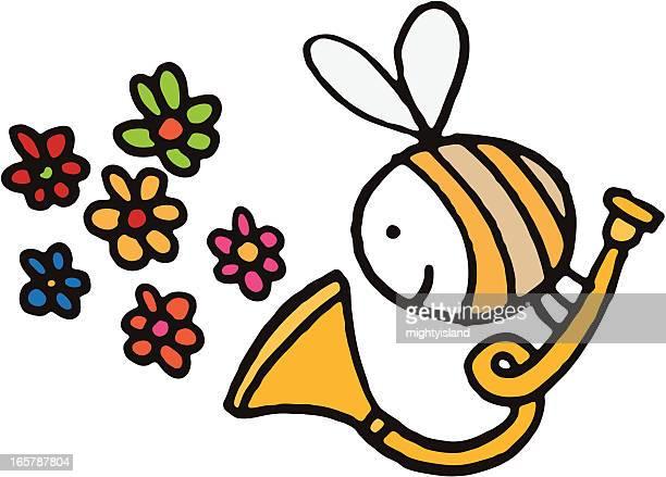 bildbanksillustrationer, clip art samt tecknat material och ikoner med bee with trumpet blowing flowers - bumblebee