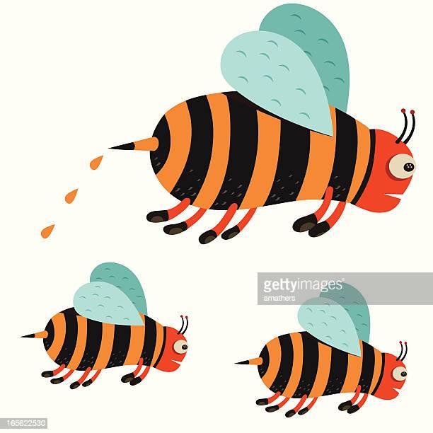 beees - worker bee stock illustrations