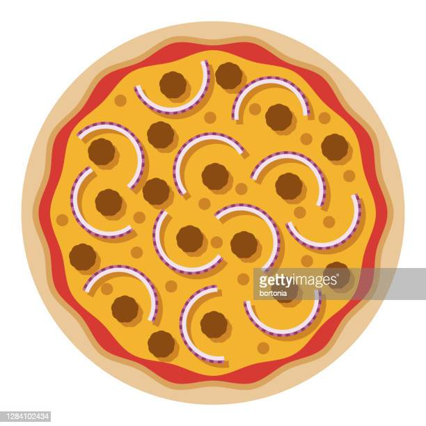 beef and onion pizza icon on transparent background - ground beef stock illustrations
