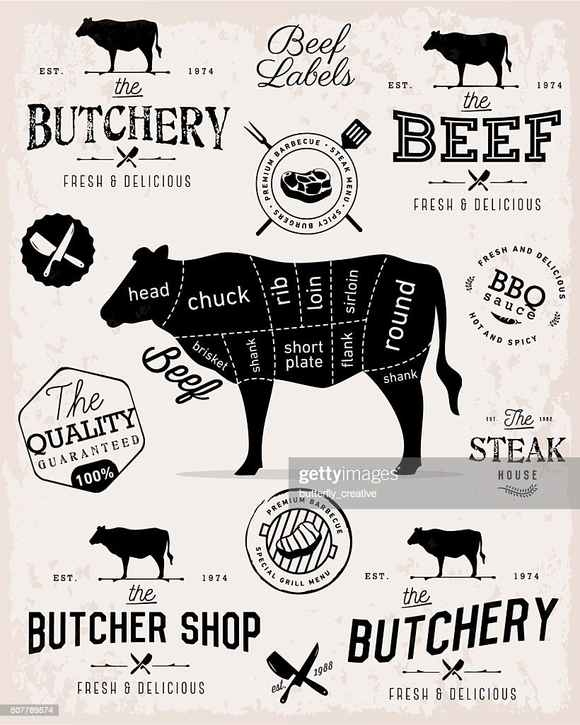 Beef Cuts Diagram and Butcher Shop Badges, Labels and Design Elements
