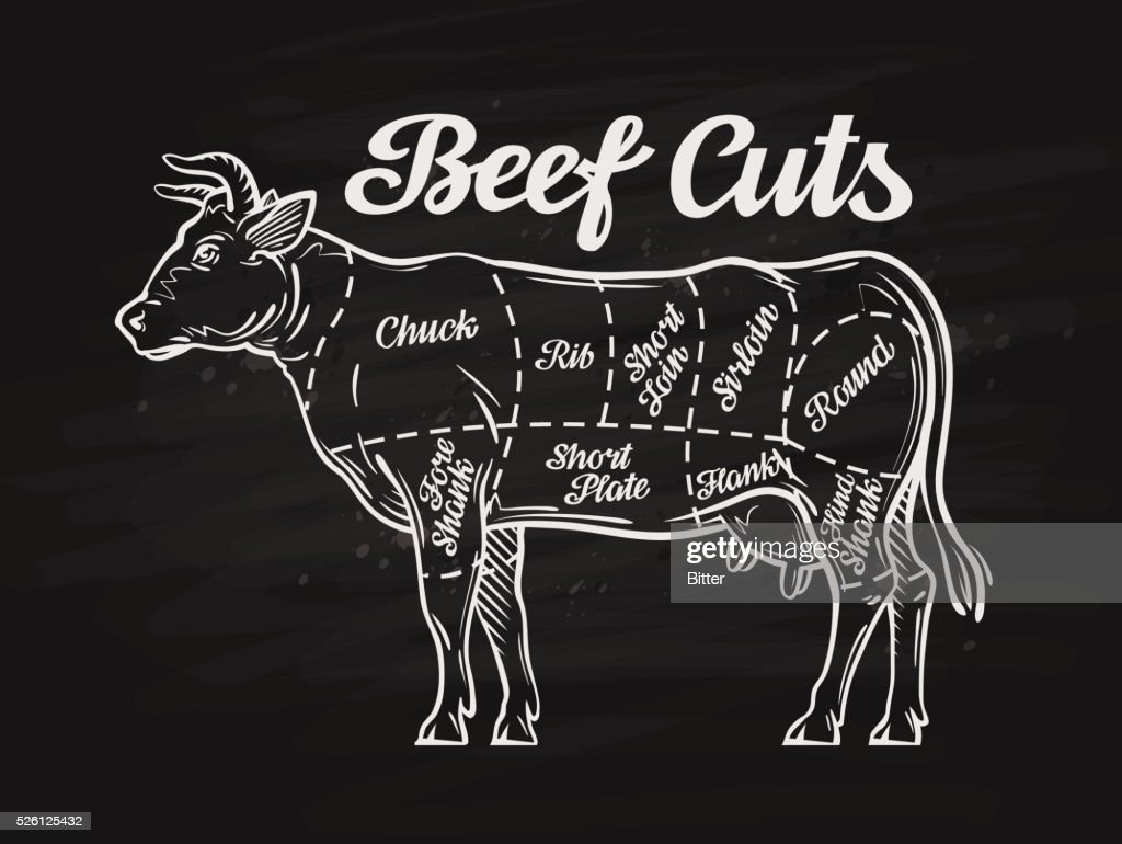 beef cuts. template menu design for restaurant, cafe