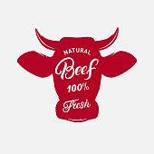 Beef label, print, poster for butcher shop, farmer market, steak house.