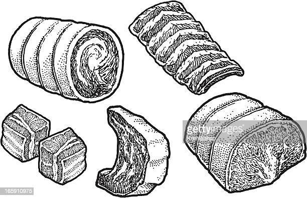 ilustraciones, imágenes clip art, dibujos animados e iconos de stock de cortes de carne, costillas de carne de res - chuletón