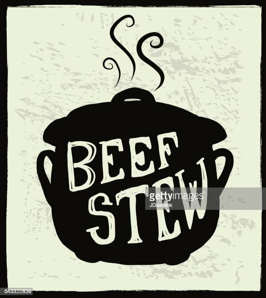beef stew cauldron label hand lettering design - beef stew stock illustrations, clip art, cartoons, & icons
