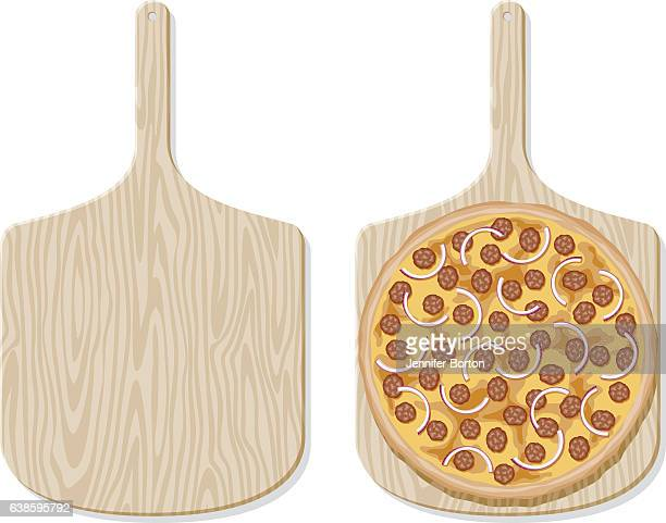 beef&onion pizza on a traditional wooden paddle, overhead view - ground beef stock illustrations
