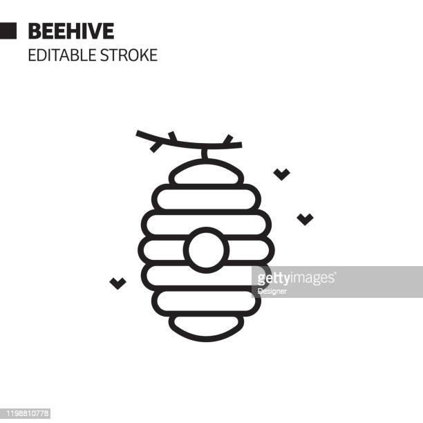 ilustraciones, imágenes clip art, dibujos animados e iconos de stock de icono de línea de colmena, ilustración de símbolo vectorial de contorno. píxel perfecto, trazo editable. - abeja