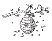 Beehive On Branch Drawing