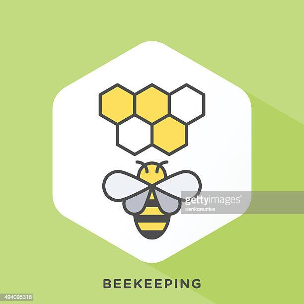 ilustraciones, imágenes clip art, dibujos animados e iconos de stock de beekeeping icono - abeja