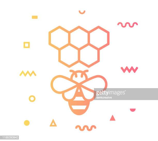 beekeeping line style icon design - animal body part stock illustrations