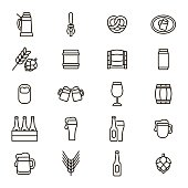 Beer Alcohol Drink Thin Line Icon Set. Vector