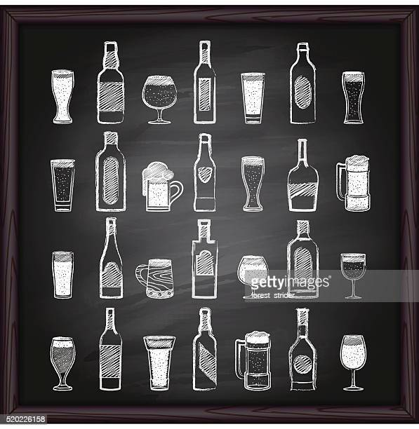 beer and alcohol icons on blackboard - beer alcohol stock illustrations, clip art, cartoons, & icons