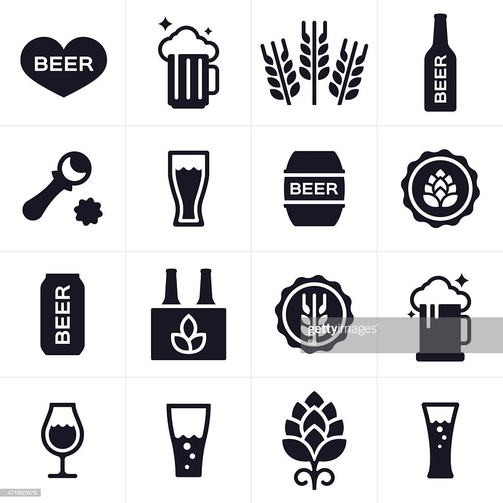 Beer And Beer Brewing Icons And Symbols Vector Art Getty Images