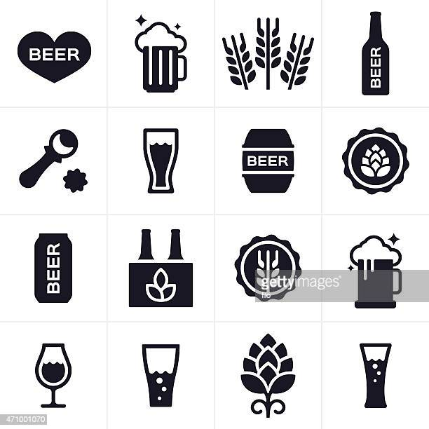 beer and beer brewing icons and symbols - beer glass stock illustrations, clip art, cartoons, & icons