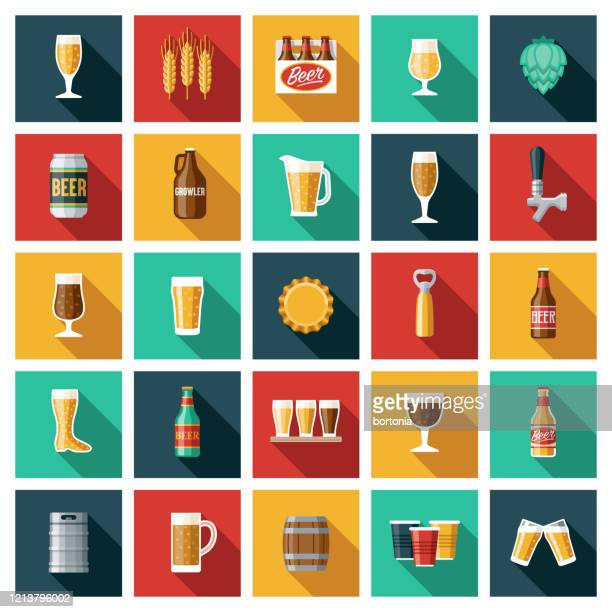 beer and brewing icon set - beer alcohol stock illustrations