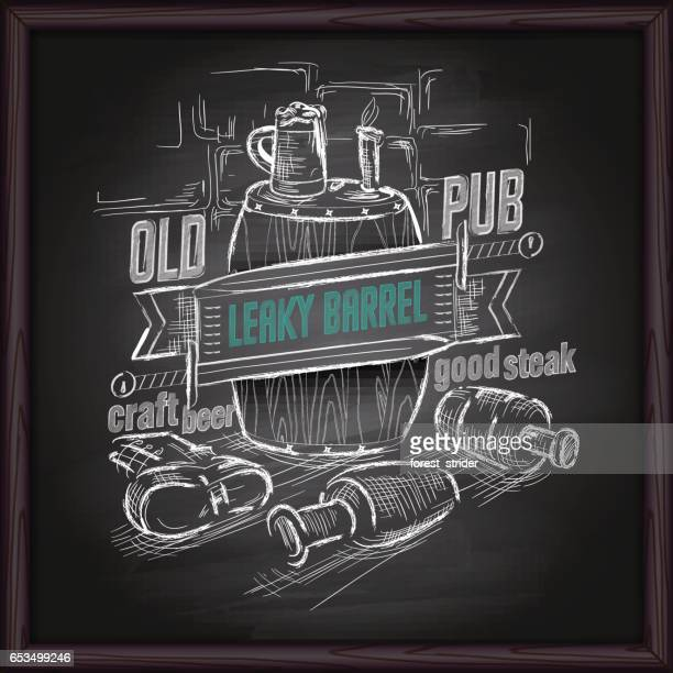beer and pub logo on blackboard - tequila drink stock illustrations, clip art, cartoons, & icons