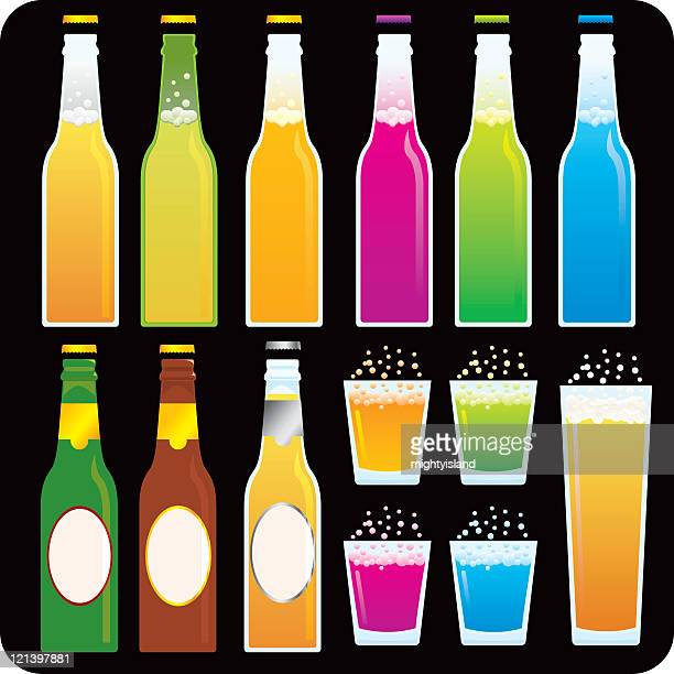 beer and soda bottles - shot glass stock illustrations, clip art, cartoons, & icons
