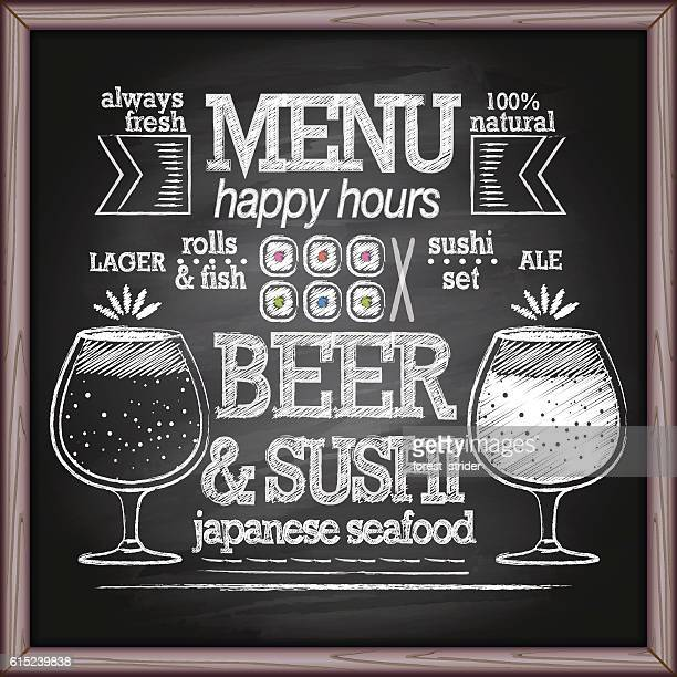 beer and sushi menu on chalkboard - chalk art equipment stock illustrations, clip art, cartoons, & icons