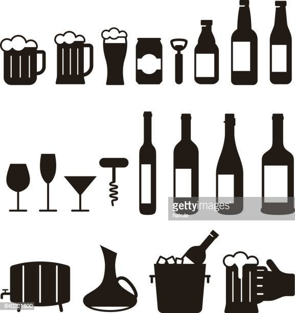 beer and wine drink icon set, vector illustration