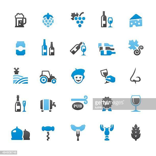bier und wein verwandte vektor-icons - bratwurst stock-grafiken, -clipart, -cartoons und -symbole