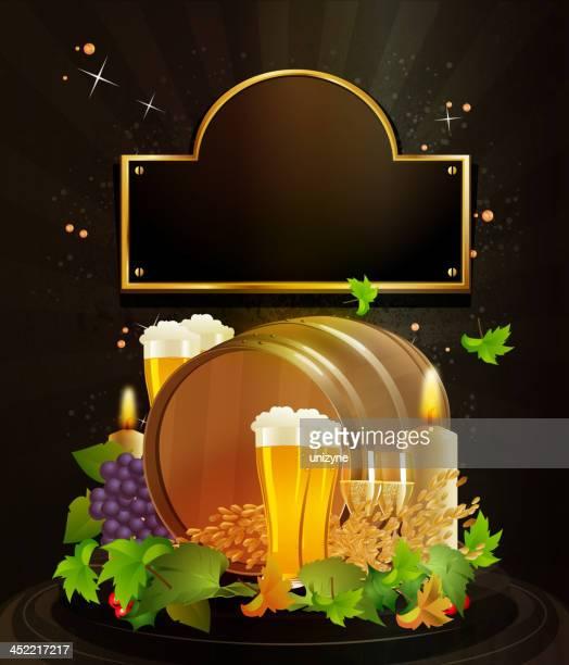 Beer Barrel with Grunge Background