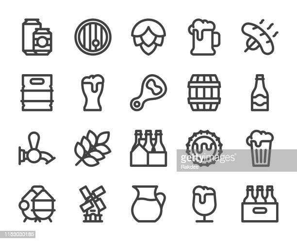 beer - bold line icons - dehydration stock illustrations, clip art, cartoons, & icons
