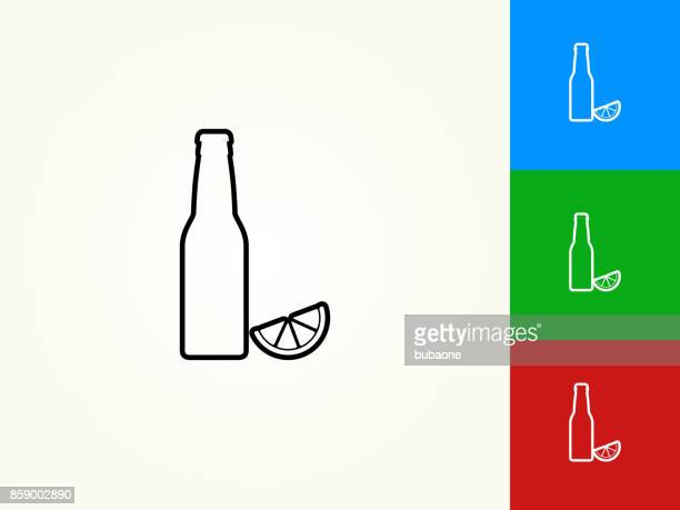 Beer Bottle and Lime Black Stroke Linear Icon