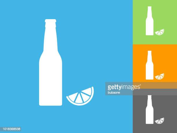Beer Bottle and Lime Flat Icon on Blue Background