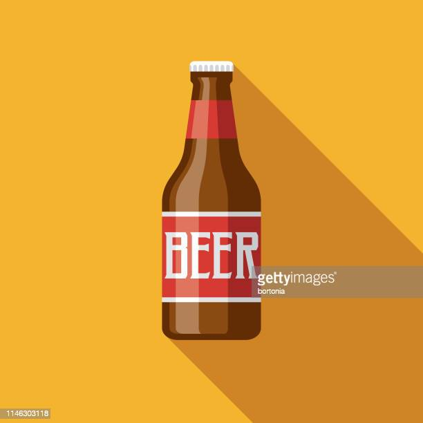 beer bottle flat design icon - artisanal food and drink stock illustrations, clip art, cartoons, & icons