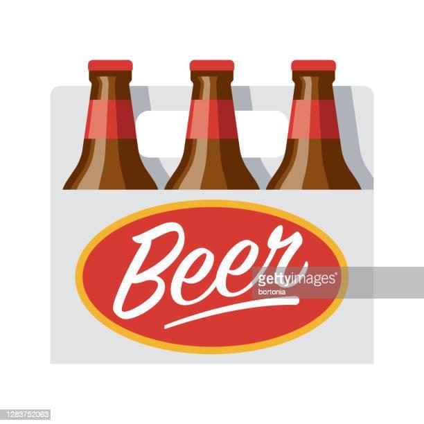 透明な背景にビールボトルアイコン - 6缶パック点のイラスト素材/クリップアート素材/マンガ素材/アイコン素材