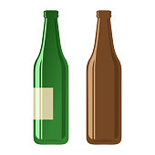Beer bottles on a white background