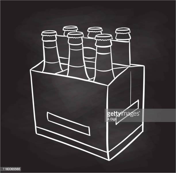 ビールボトル 6パック黒板 - 6缶パック点のイラスト素材/クリップアート素材/マンガ素材/アイコン素材