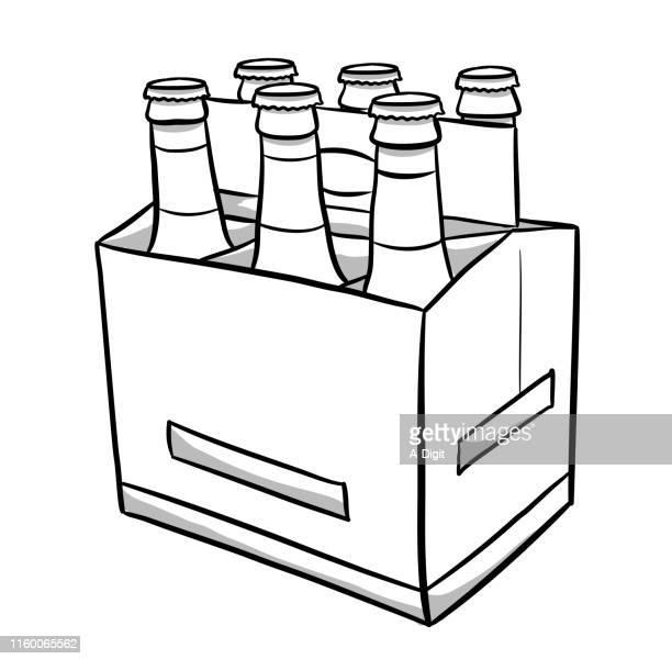 ビールボトル 6パック - 6缶パック点のイラスト素材/クリップアート素材/マンガ素材/アイコン素材