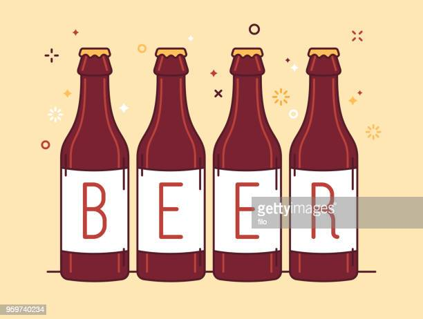 beer bottles - carbonated stock illustrations, clip art, cartoons, & icons