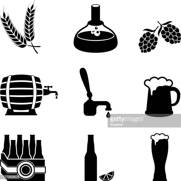 beer brewery process and equipment vector icon set - lager stock illustrations, clip art, cartoons, & icons
