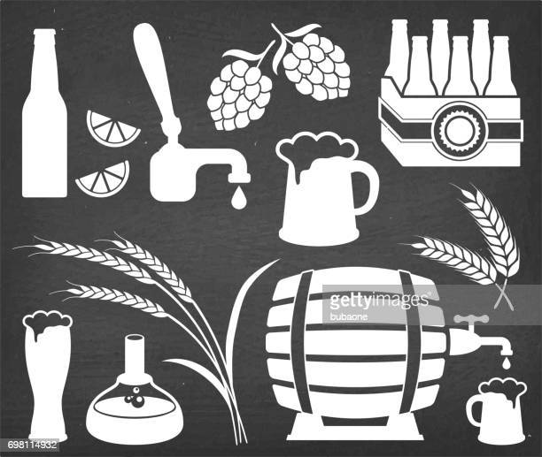 beer brewery process and equipment vector icon set - brewery stock illustrations, clip art, cartoons, & icons